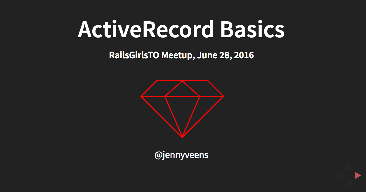 Title Slide from my ActiveRecord Basics talk